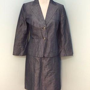 Ann Taylor LOFT 4 Skirt Suit Chambray EUC